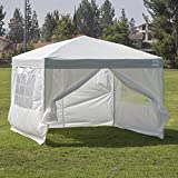 Cheap Belleze Easy Pop Up Canopy 10 x 10 Feet Vending Fair Shelter with 4 Removable Side Wall w/ Carrying Bag, Silver