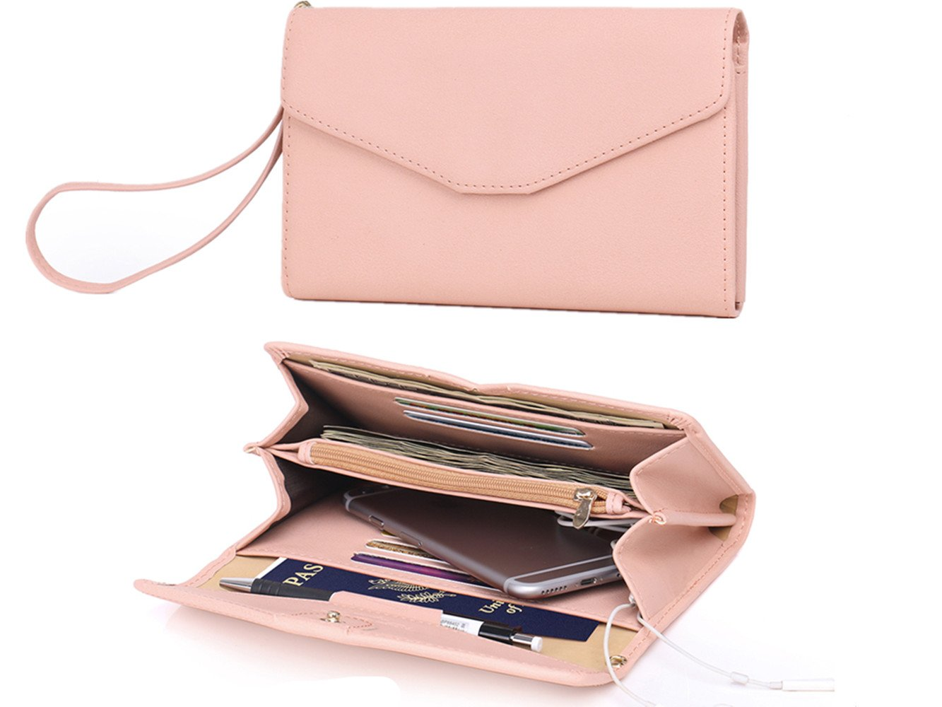 Zg Wristlets for Women, Cell Phone Clutch Wallet, Passport Wallet, All In One Purse Extra Capacity - Pink
