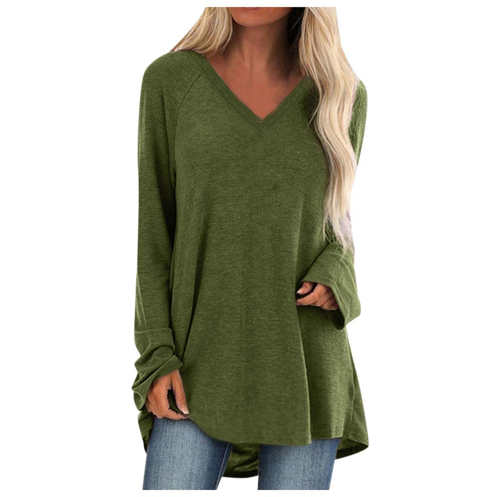 DHGCX Womens Soft Solid Tops Loose Comfy Plus Size V Neck Long Sleeved Tunic T-Shirt Blouse