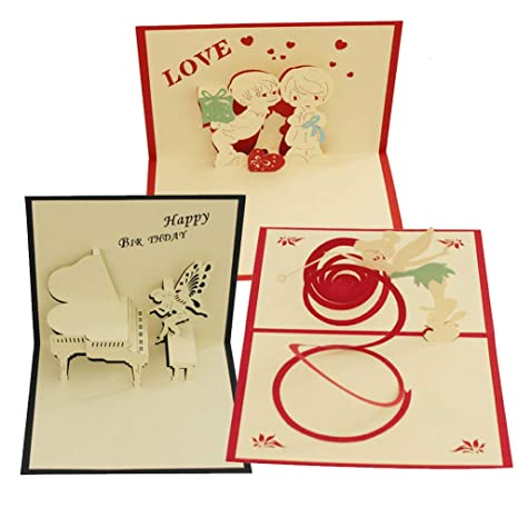 Amazon Com Pack Of 3 Pop Up Card Paper Craft For Wife Husband Kids