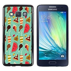 QCASE / Samsung Galaxy A3 SM-A300 / arte pintado bebida sandía helados alimentos / Delgado Negro Plástico caso cubierta Shell Armor Funda Case Cover