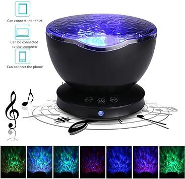 Yosoo Sleeping Ocean Projector Night Light Projector 12 LED Sleep Night Lamp for Kids 7 Colorful Ocean Wave Projection