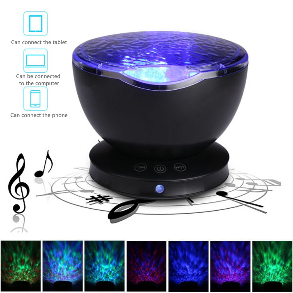 Latest Version Ocean Wave Projector, Umiwe 12LEDs 7 Models Ocean Wave Night Light with Built-in Mini Music Player and Hanging Holes for Kids Adults Bedroom Living Room Relaxing - Sleep Aider