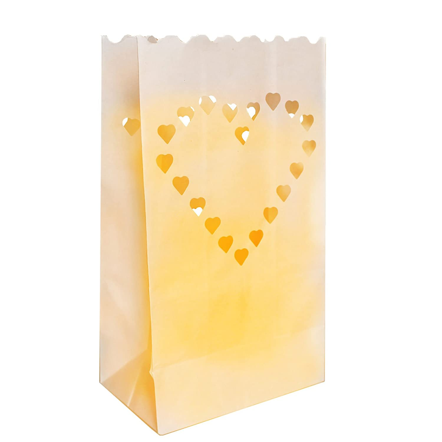 50 Pack Heart Design White Paper Decorative Lanterns by Kurtzy - Centrepiece Craft Decorations for Weddings and Birthdays - Flame Resistant - Large Lanterns - Use with Tea Lights (Regular or LED) CB-505