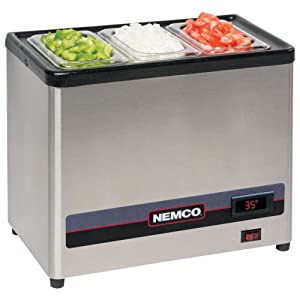 Nemco 9020-3 Cold Condiment Chiller, Includes (3) 1/9 Size Stainless Pans with C
