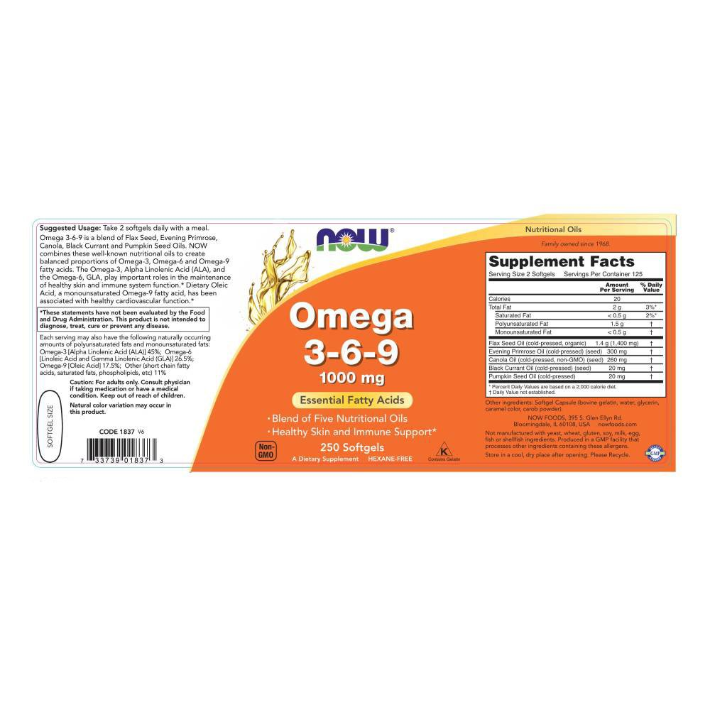 Now Foods, Omega 3-6-9 - 1000mg x250caps: Amazon.es: Salud y cuidado personal