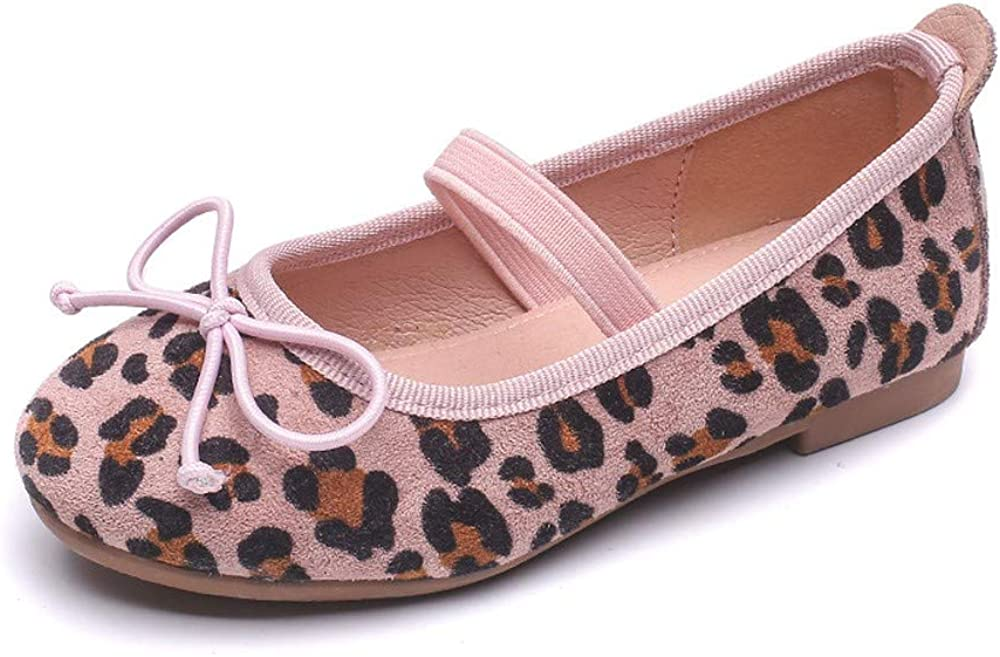 Qiaoyan Girls Leopard Ballet Flat with Bow-Knot