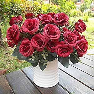 hwangli 1 Bouquet/12 Heads Artificial Roses Silk Flower Home Party Bridal Bouquet Decor 44