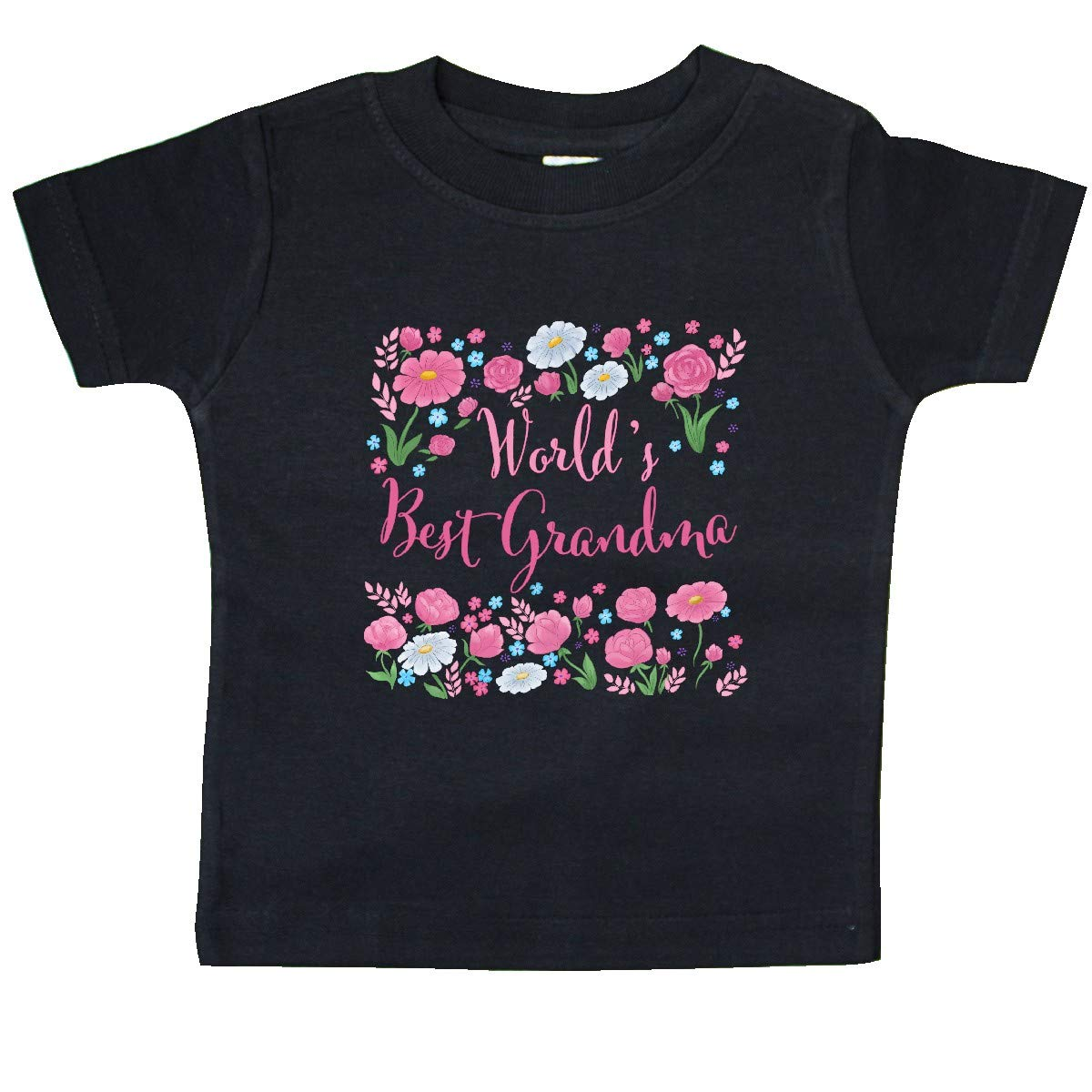 inktastic Worlds Best Grandma-Roses and Daisies Baby T-Shirt