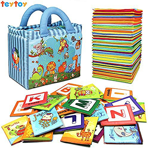 teytoy Baby Toy Zoo Series 26pcs Soft Alphabet Cards with Cloth Bag for Over 0 Years ()