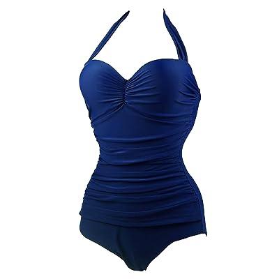 B&T Women's One Piece Swimwear wear Blue Black Swimsuit (Blue): Clothing