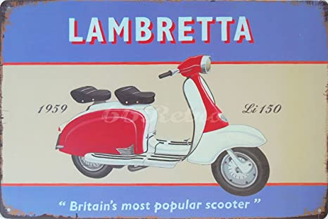 Amazon.com: 1959 Lambretta LI150, pared de metal estaño ...