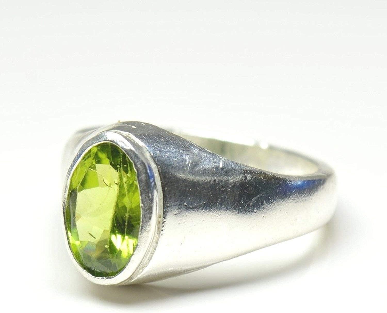 100/% Naturel Péridot Vert Pomme 5-pierre précieuse Design RARE Argent 925 Anneau Taille 9