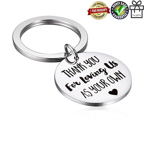 Alxeani Stepdad Stepmom Gifts Stainless Steel Stepfather Stepmother Keychain Mothers Day Fathers Wedding