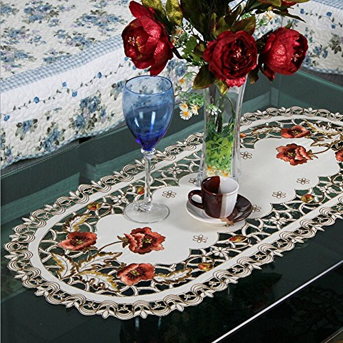 (USTIDE European Style Red Rose Cut Work Rustic Tablecloth Beige Table Doily Handmade Embroidery Flower Table Cloth Durable Washable Table Cloths,15.7
