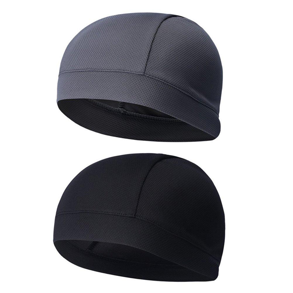 WINOMO 2Pcs Skull Cap Quick Dry Sweat Beanie High Elasticity Cycling Caps(Black Gray)
