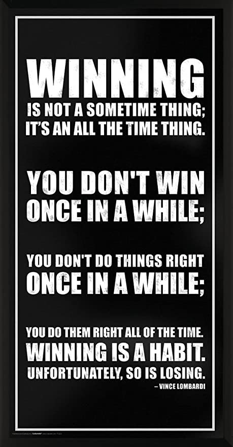 Culturenik Vince Lombardi Winning Inspirational Motivational Sports Icon Quote Print Framed 12x24 Poster