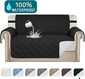 """Turquoize Waterproof Sofa Slipcover Loveseat Protector Cover for Living Room Non-Slip Couch Covers for Dogs Pet Quilted Furniture Covers Washable Protects from Kids, Dogs, Cats (Loveseat 54"""",Black)"""