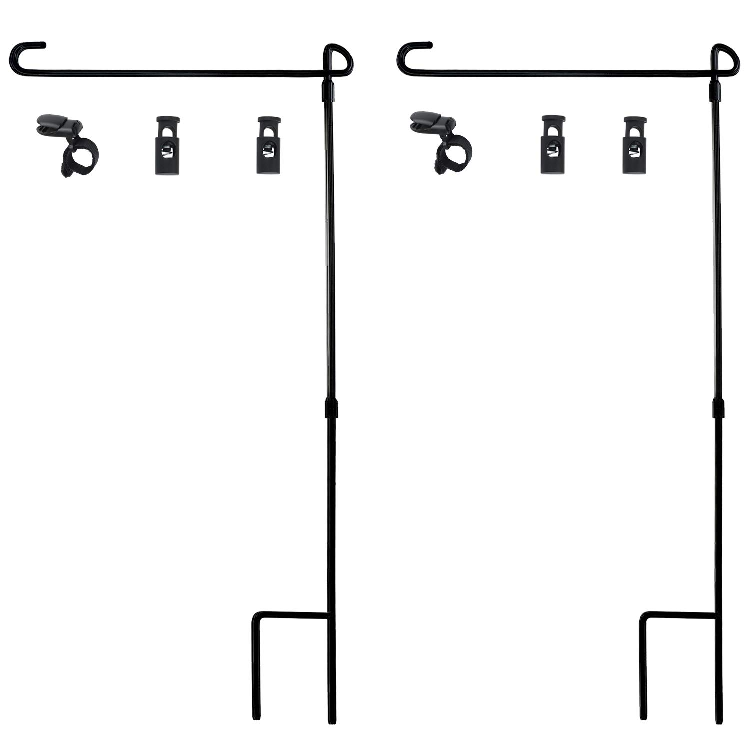 HOOSUN Garden Flag Stand, Premium Garden Flag Pole Holder Metal Wrought Iron Powder-Coated Weather-Proof Paint 36.5'' H x 16.5'' W (3 Piece Set) (2 Pack) with Tiger Anti-Wind Clip and Spring Stoppers