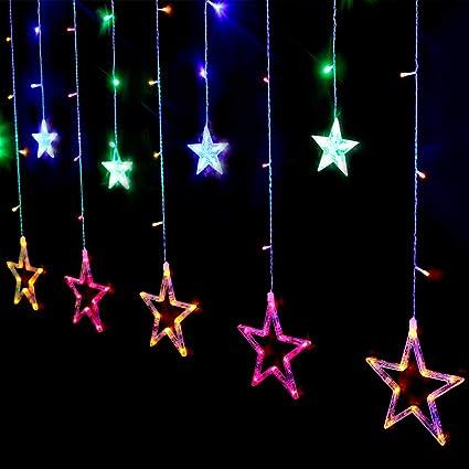 SALCAR Cadena de Luces LED de Colores 2 * 1 Metros, Cortina 12 ...