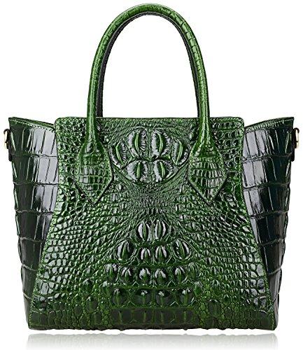 PIJUSHI Embossed Crocodile Handbags for Ladies Designer Purses Top Handle Shoulder Bag (6082 Green)