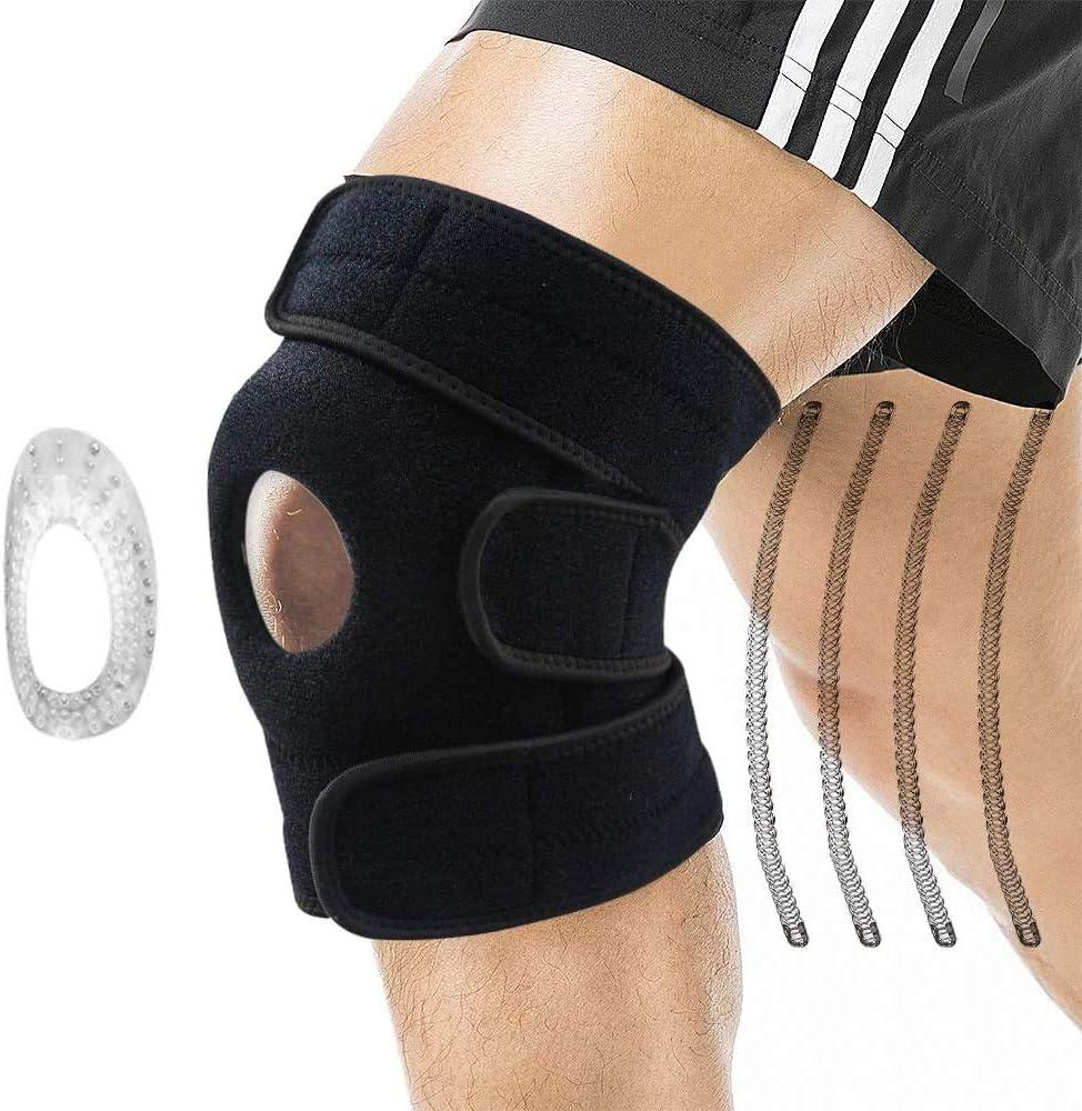 Rodilleras Deportivas - Equipo de Protección Transpirable Apoyo de La Rodilla,3 Tiras de Velcro Elásticas Ajustables,Alivio del dolor Articular,Gimnasio,Deportes,Correr,Esquiar (Negro)