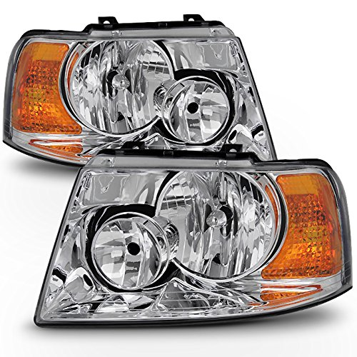 For 03-06 Ford Expedition Chrome Clear Headlights Front Lamps Direct Replacement Pair Left + Right - Ford Expedition Headlight Assembly