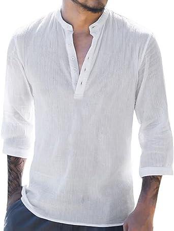 Camisa Casual para Hombre, Blusa Suelta y Transpirable Suave Color Sólido V Hebilla con Lazo 3/4 Camiseta de Manga: Amazon.es: Ropa y accesorios