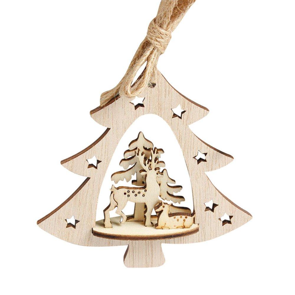 Chirstmas Snowflake Wooden Pendants Embellishments Christmas Tree Hanging Ornament(13 x12 x 0.3cm,Multicolor C)