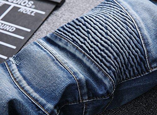 DianShao Vaqueros para Hombre Slim Fit Moto Pantalones Ver ...