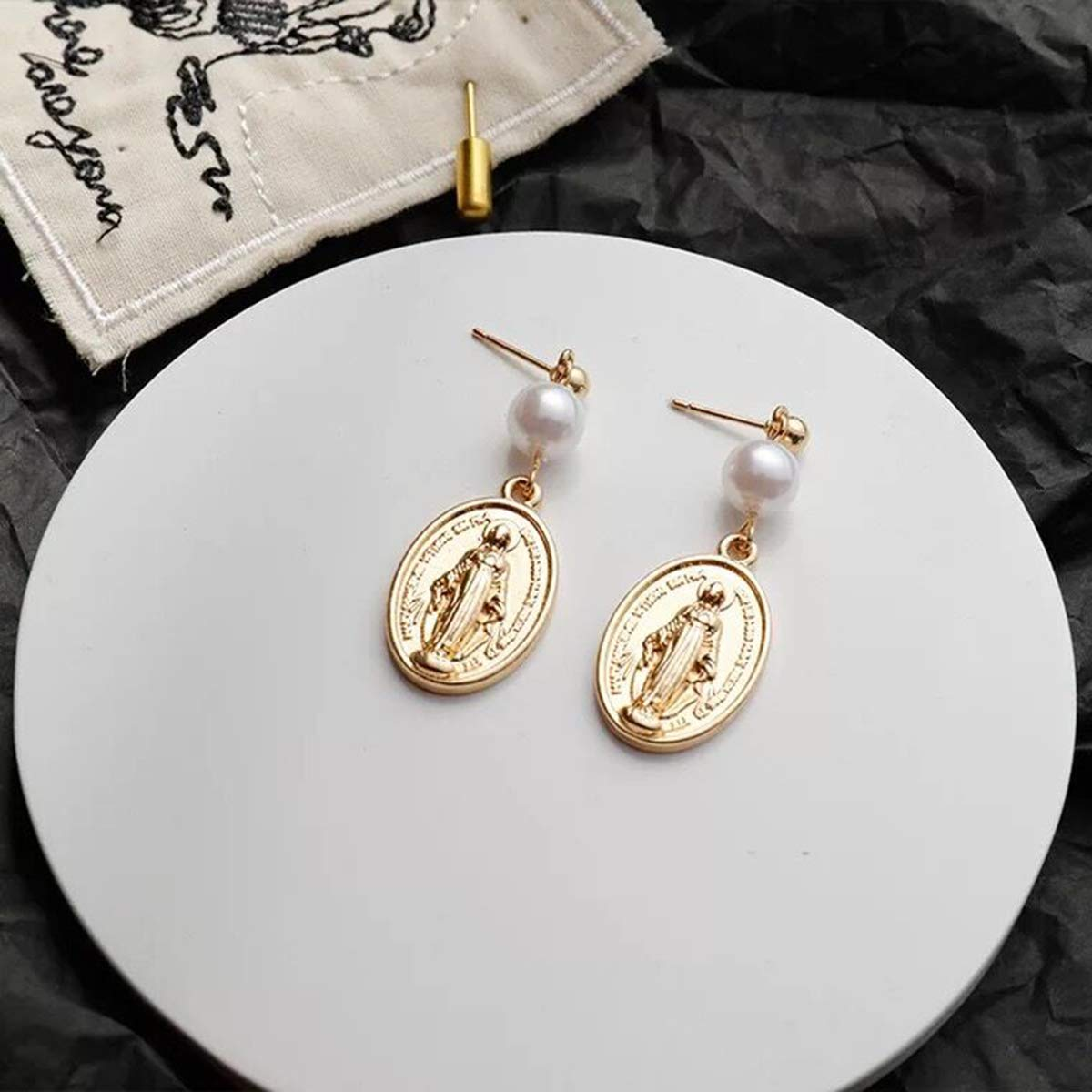 LANTAI 2 Pairs Virgin Mary and Coin Pearl Bead Earrings Set-Gold Dangle Earrings for Women Girls Gifts Jewelry