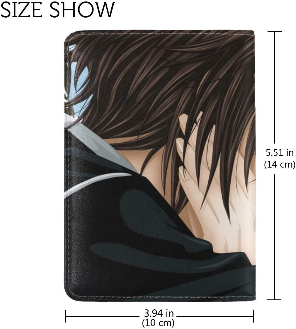 JiaoL Couple In Love Tears Hugs Flowers Leather Passport Holder Cover Case Travel One Pocket
