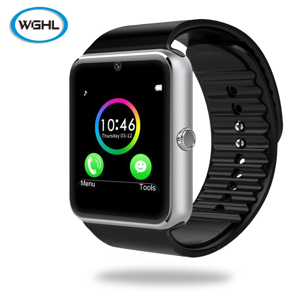 WGHL Wearable Bluetooth Touch Screen Smart Watch with Camera and SIM Card Slot for Android Samsung HTC LG Sony (Full Functions) iOS iPhone 5 / 5s / 6 ...