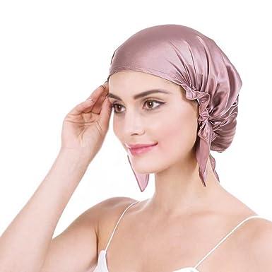 Frcolor Berretto da notte di seta di gelso berretto di capelli lunghi bonnet cappellino per le donne ragazze rosa