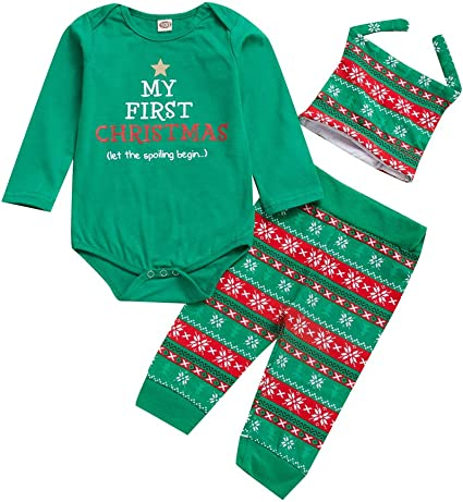US My First Christmas Infant Baby Boys Girls Romper Top Pants Kid Outfit Clothes