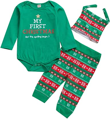My 1st Christmas Newborn Baby Boy Girl Cotton Tops Romper Long Pants Hat Outfits