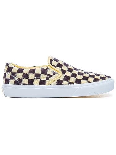 Vans Schuhe – Classic Slip-on (Furry Checkerboard) Gelb/Schwarz/Weiß ...