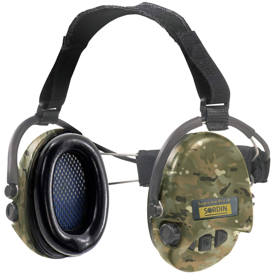 Sordin Supreme PRO X - Active Hearing Protection with Neckband - Perfect for Helmets - Safety Earmuffs with Camo Cups and Foam Seals
