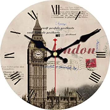Mzdpp Big Ben Design Relojes Redondos Silent Home Cafe Oficina Bar Relojes Decorativos Art Wall Vintage Gran Reloj De Pared B-23 Inch: Amazon.es: Hogar