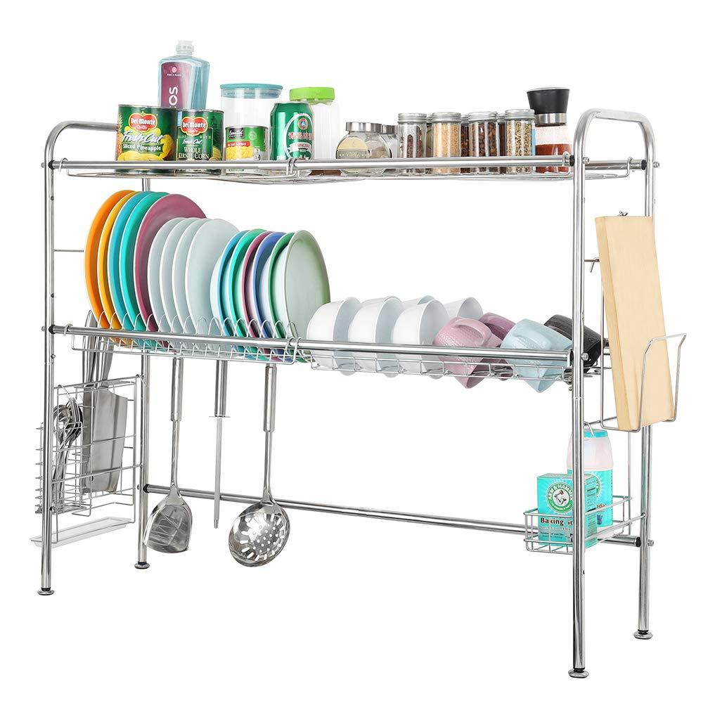 con ganchos para utensilios de cocina contador antideslizante grande de acero inoxidable Soporte para secar platos sobre el fregadero