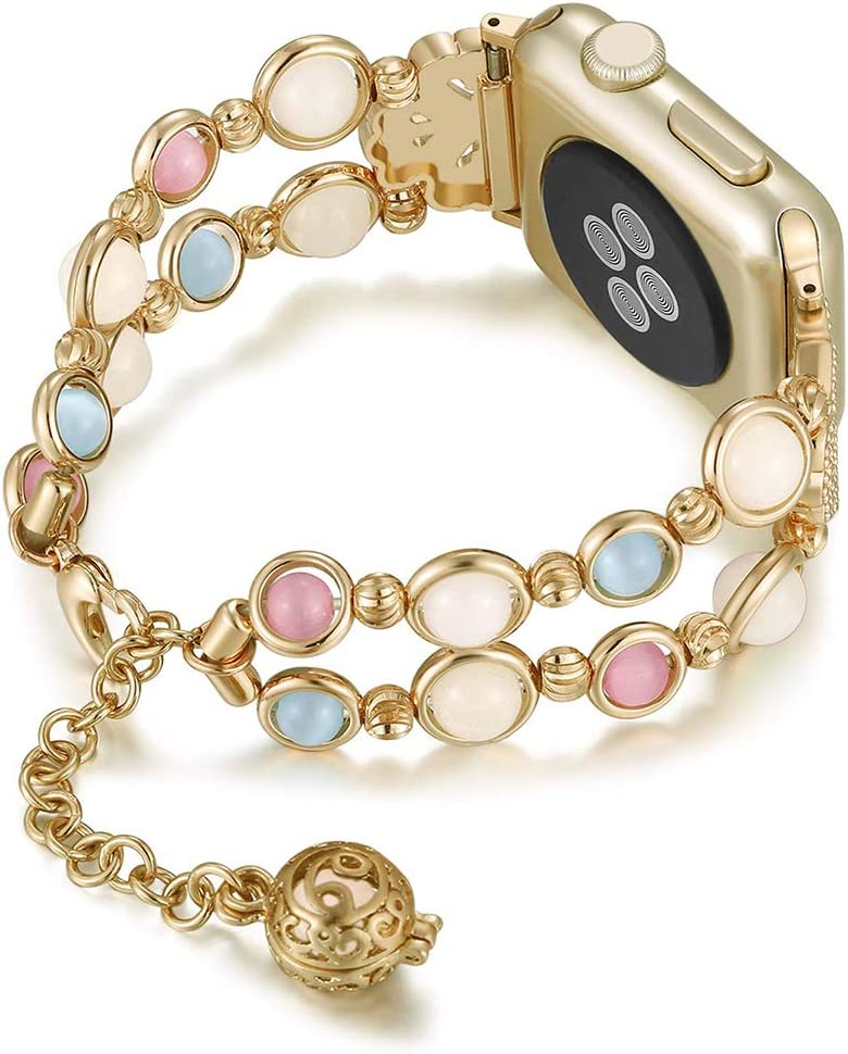 Handmade Jewelry Band Compatible with Apple Watch Bands Strap 42mm/44mm Night Luminous Watchstrap for Iwatch Series 5 4 3 2 1 Pearl Bracelet 6.7-8.3 inch for Girls Women with Perfume Storage (Gold)