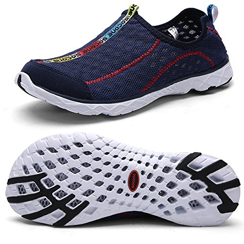 QANSI Men's Breathable Sailing Up Beach Water Shoes Quick Dry Aqua Trainers Navy BXRi64KgnX