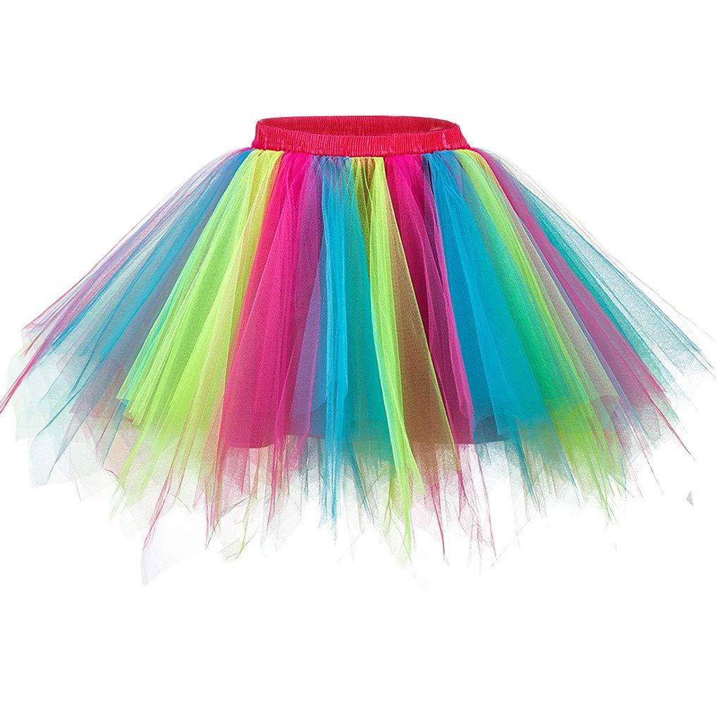 Ellames Women's Vintage 1950s Tutu Petticoat Ballet Bubble Dance Skirt Rainbow S/M