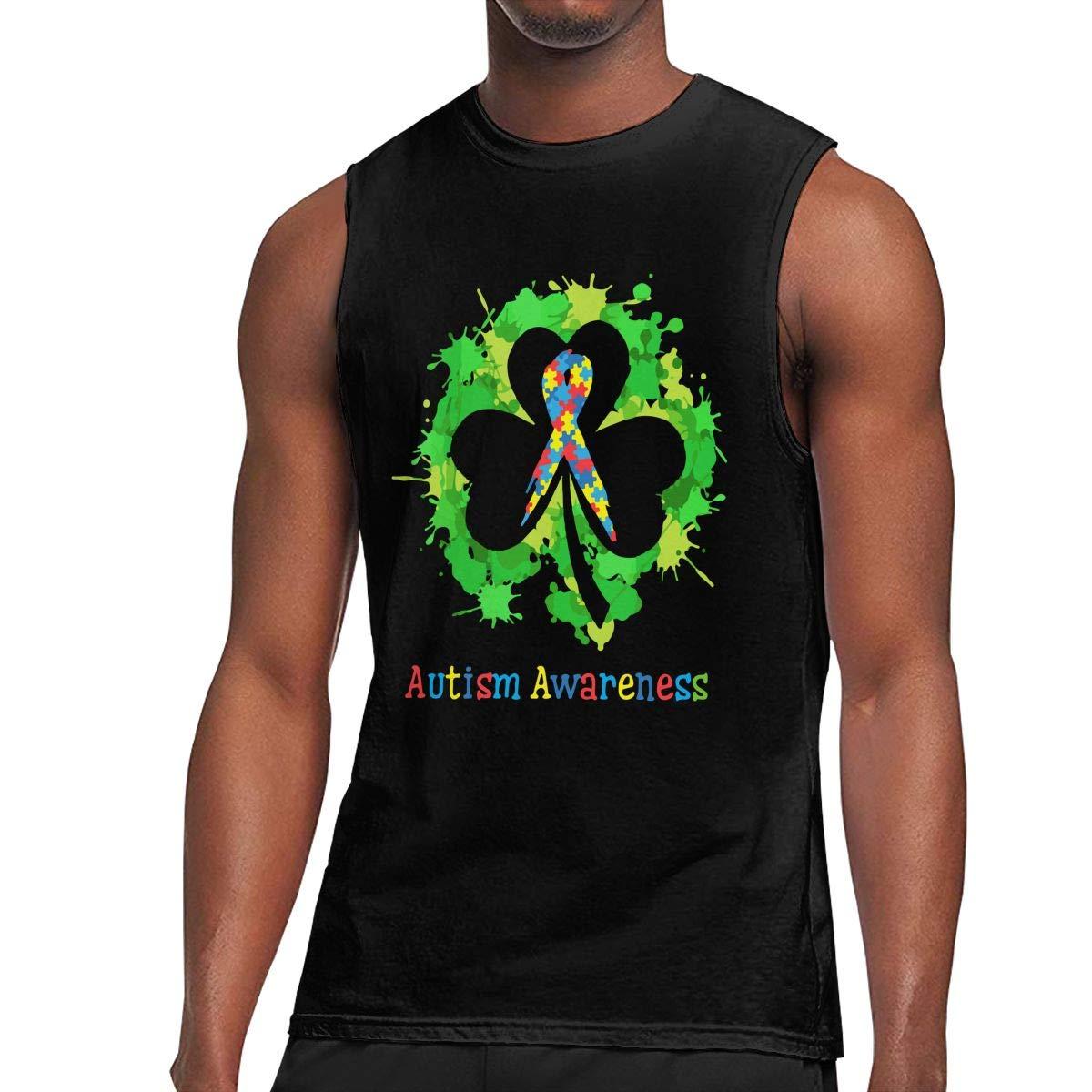 BFBG5f-Tee Mens Autism Awareness Muscle Workout Jersey Tank Tees