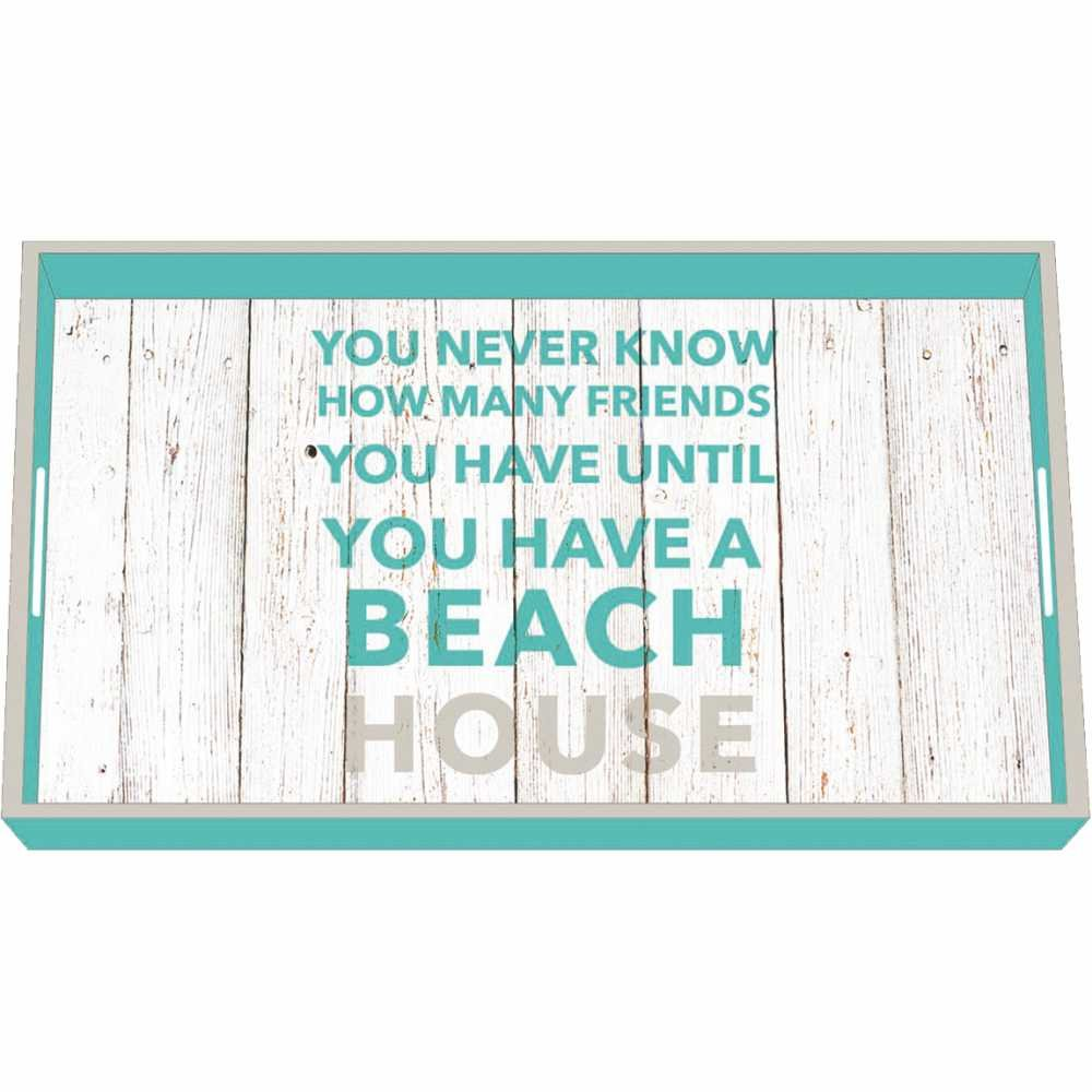 Paperproducts Design Wooden Vanity Tray Displaying Beach House Design, 12.25 x 7 x 1.5