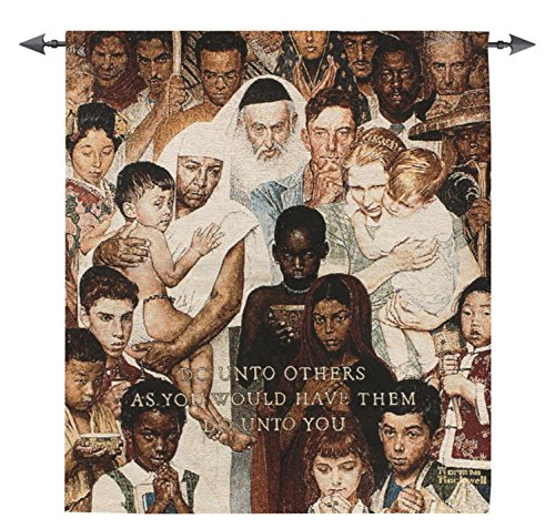 Manual Weavers Norman Rockwell The Golden Rule Inspirational Wall Hanging Tapestry 43