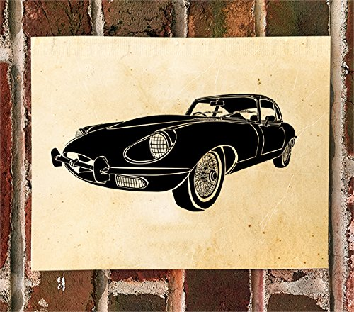 (KillerBeeMoto: Limited Print Of Jaguar E-Type British Sports Car Auto Print)