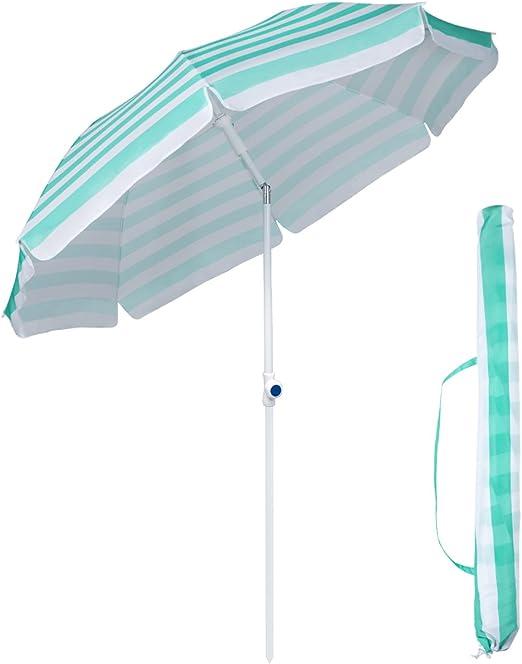 Sekey Sombrilla Ø 200 cm Parasol para terraza jardín Playa balcón ...
