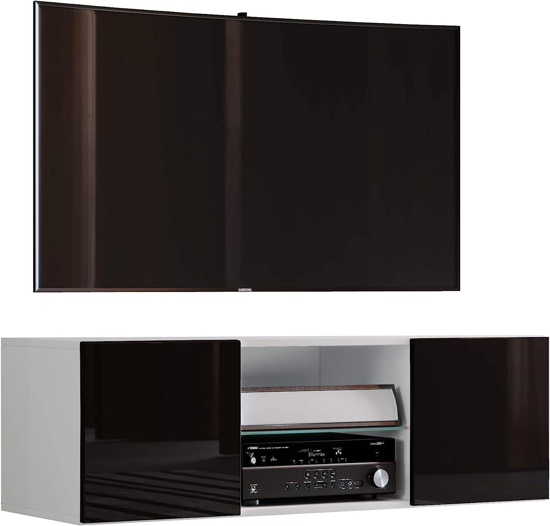 VCM jusa Poli Fin 95 – Mueble TV, Madera, Blanco/Negro, 40 x 95 x 36 cm: Amazon.es: Hogar
