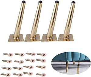 Osring 4 Inch Steel Furniture Table Leg Round Tapered Sofa Legs, Slant Metal Cabinet Feet Furniture Leg Hardware for Coffee Table, 4 Pack